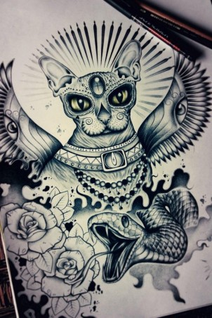 Lithuanian style hairless cat tattoo design