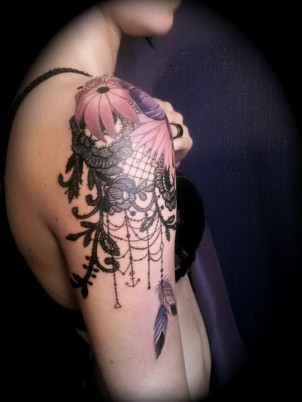 Intricate old school flowers and dreamcatcher shoulder tattoo
