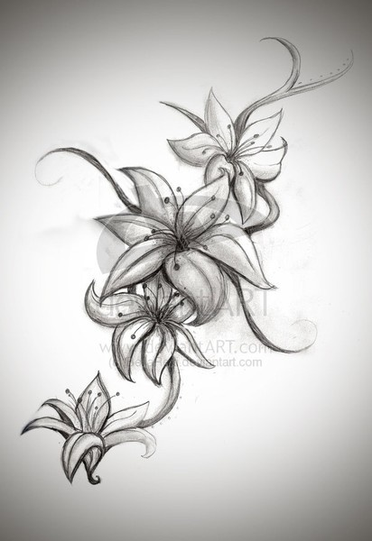 nice lilies design for a tattoo
