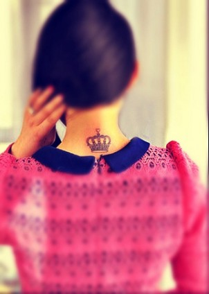 Cute crown tattoo on girls neck