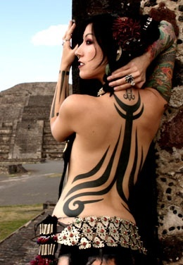 girls full back tribal tattoo