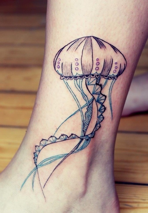 Cool jellyfish tattoo on girls ankle